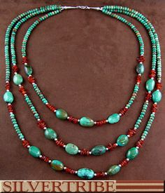 Kingman Turquoise Amber 3 Strand Native American Bead Necklace
