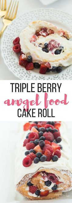This Triple Berry Angel Food Cake Roll is an easy red, white and blue dessert (or just red and white!) for the 4th of July or Canada Day, or any day! Perfect with fresh summer strawberries, raspberries and blueberries  Includes step by step recipe video. | summer dessert | skinny | light dessert | strawberry | blueberry | raspberry | easy dessert recipe | cake mix
