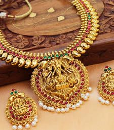 Buy Gorgeous gold plated temple necklace set Online
