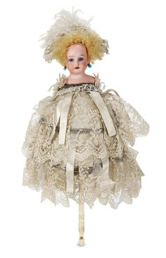 Marks: 3200 A M 11/0 dep. Comments: for the French market,circa 1890. Value Points: in pristine condition,the luxury toy has totally original silk and lace costume in lavish detail,and with matching bi-corn party hat.