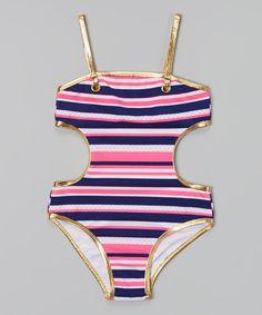 Love this Pink & Purple Stripe One-Piece - Girls by Jantzen on #zulily! #zulilyfinds
