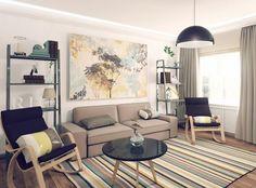 Eklektisch Wohnzimmer Gemütlich Weiß Sofa Grün   Diseño Interior ... Wohnzimmer Gestalten Grun