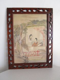 Vintage world map atlas wood framed mirror new and accvrat map of an excellent piece to any asian art collector the painting is on handmade paper you gumiabroncs Gallery