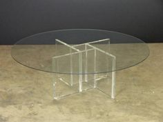 Vintage Lucite Four Sided Geometric Base Coffee Table with Round Glass Top Miami, FL, Circa 1980