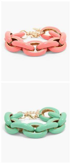 Spring must-have! Mint and coral BaubleBar link bracelets.