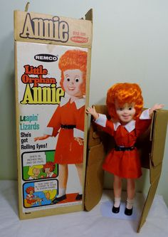"""Vintage 16"""" Little Orphan Annie Doll by Remco 1967 w/ Box Complete Rolling Eyes"""