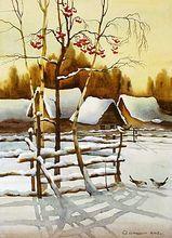 "Original watercolor ""Mountain Ash"" of Russian artist"