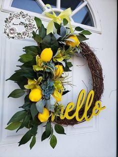 Lemon Wreaths for Front Door Succulent Wreaths Farmhouse Wreath Spring Wreath Lamb's Ear Wreath Summ Diy Spring Wreath, Diy Wreath, Tulle Wreath, Wreath Ideas, Christmas Wreaths For Front Door, Holiday Wreaths, Prim Christmas, Summer Door Wreaths, Lemon Wreath