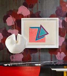 Beautifully abstract and totally avant garde! We're loving the hand-painted wall paper and creativity in this room! Red Interiors, Hand Painted, Interior Design, Cool Stuff, Abstract, Wallpaper, Frame, Creative, Instagram Posts