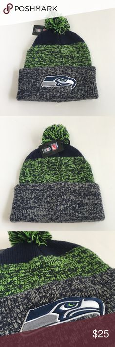 Seahawks beanie NFL Team winter hat men's women's A great NWT new with tags Seahawks Beanie with the cute fluff ball on top. I believe this is a Men's hat but works for women as well. It's woven with grey, navy blue, and green. '47 brand NFL Team Apparel tag say one size. 47 Accessories Hats