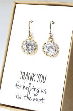 Round Cubic Zirconia / Gold Earrings - Crystal Bridesmaid Earrings
