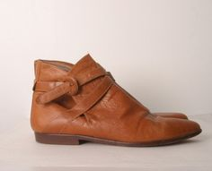 Vintage ankle boots cross strap tan camel brown womens size 10. $72.00, via Etsy.