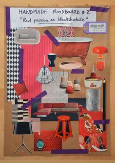 """""""Red passion in black&white"""": seconda handmade moodboard della mia collezione. Un design outfit progettato con forbici, colla, ritagli, carta colorata #DesignOutfit #HandmadeMoodboard"""