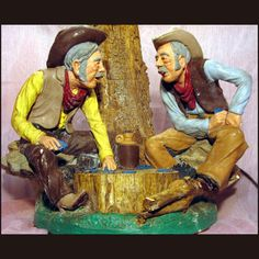 Cowboy Table Lamp Western Style Light Saloon Themed Country Cowboys Playing Old West Aspit Brothers