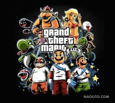 Grand Theft Mario By Nacho Diaz Arjona On sale now. - Gather of the Geeks Mario Video Game, Video Game Art, Geeks, Geek Mode, Rockstar Games, Gaming Memes, Grand Theft Auto, Illustrations, Gta 5