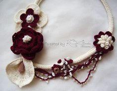 Crochet necklace Flower crochet necklace by KSZCrochetTreasures