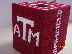 Texas A tissue box Plastic Canvas Tissue Boxes, Plastic Canvas Crafts, Plastic Canvas Patterns, Stitching Patterns, Cross Stitching, Cross Stitch Patterns, Football Canvas, College Crafts, Kleenex Box
