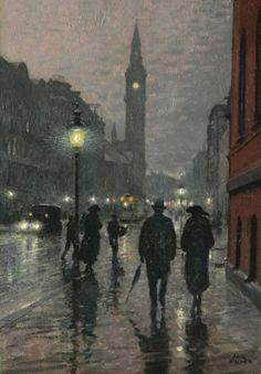 Evening West Rampart Street, Copenhagen  -  Paul Fischer   Danish  1860-1934