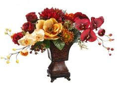 Silk Floral Arrangment with Phalaenopsis Orchids Roses and Magnolias in Urn -ARWF1235