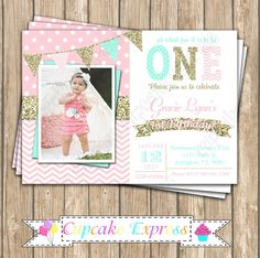 One First Birthday girl coral pink  mint gold PRINTABLE  Invitation #7  chevron polka dot glitter 1st birthday 1031 by CupcakeExpress on Etsy https://www.etsy.com/listing/233709451/one-first-birthday-girl-coral-pink-mint