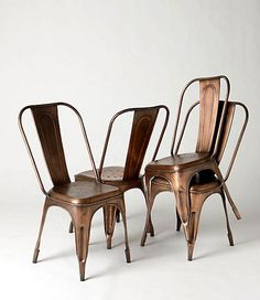 Craze Tolix copper chairs - have these in silver and in red, white and turquoise - love them!Tolix copper chairs - have these in silver and in red, white and turquoise - love them! Metal Cafe Chairs, Copper Chairs, Iron Chairs, Pub Chairs, Bistro Chairs, Desk Chairs, Lounge Chairs, Industrial Furniture, Home Furniture