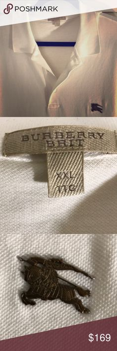 Men's Burberry Brit Cotton Pique Polo Shirt XXL Burberry short sleeve, polo shirt in white. 100% cotton with golden brass Burberry logo on chest. Great condition! Guaranteed authentic. Burberry Shirts Polos
