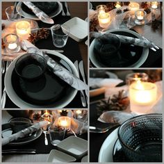 black and white table setting White Table Settings, Tea Lights, Candles, Table Decorations, Dinner, Home Decor, Style, Dining, Swag