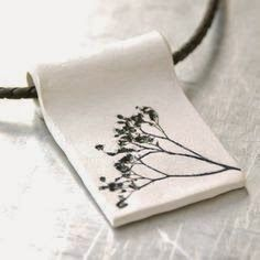 Clay Pendant Natural Plant Impression - Hand-sculpted Clay Pendant with Black and White Acrylic Finish. via Etsy. Ceramic Necklace, Ceramic Pendant, Polymer Clay Pendant, Polymer Clay Jewelry, Porcelain Jewelry, Ceramic Jewelry, Ceramic Beads, Ceramic Clay, Paperclay