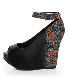 Floral goth? Privileged Mistique Black and Floral Peep Toe Wedges