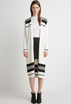 Stripe Patterned Longline Cardigan | Forever 21 - 2000172010