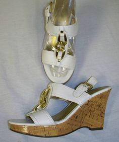 """FIONI White Wedge 4"""" heels Gold Metal Embellishments Womens 7M Peep Toe Slip-Ons Listed on eBay starting at $0.98"""