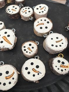 Snowmen wood ornaments