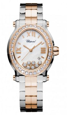 Chopard Happy Sport Oval Diamond 18 Kt Rose Gold And Stainless Steel Ladies Watch Swiss Luxury Watches, Pre Owned Watches, Chopard, Oval Diamond, Gold Watch, Bracelet Watch, Jewelry Design, Rose Gold, Accessories