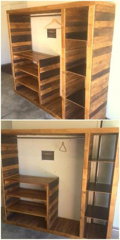 Wunderbare Ideen aus recycelten Holzpaletten Wonderful ideas from recycled wooden pallets Pallet Wardrobe, Pallet Closet, Wooden Wardrobe, Pallet Furniture Plans, Diy Furniture Projects, Wood Furniture, Bedroom Furniture, Woodworking Projects, Diy Bedroom