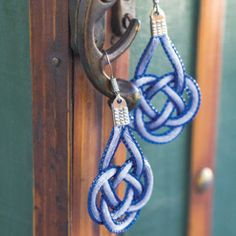 Blue Ice Coin Knot Earrings | AllFreeJewelryMaking.com