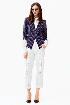 Boyfriend jeans n stripe blazer