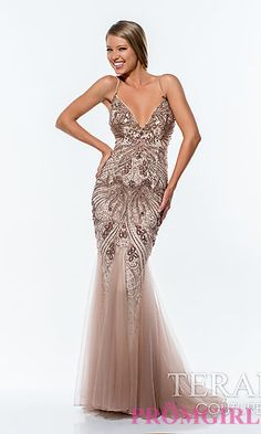 Long Beaded V-Neck Formal Gown by Terani at PromGirl.com