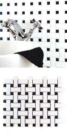 Easily create a statement floor or feature wall with these Matt Basketweave White & Black Dot Mosaic Tiles. They allow you to create a striking monochrome look. Wall And Floor Tiles, Wall Tiles, Black Dots, Black And White, White Tiles, Ancient Greece, Kitchen Flooring, Mosaic Tiles, Basket Weaving
