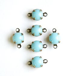 Vintage Light Blue Glass Stone 2 Loop Brass Ox by yummytreasures