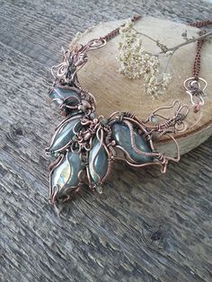 Statement necklace Copper jewelry Gemstone necklace Bib necklace Birthstone jewellery Labradorite necklace Wirewrap Wire wrapped xmas gift by AlmostRealFlowersArt on Etsy