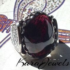 925 Sterling Silver Men's Ring with huge Rhodolite Garnet January birthstone #KaraJewels #Garnet #Rhodolite #Sterling #Silver #mens #ring #unique #jewellery #handmade #birthstone #january