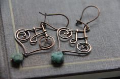 Copper and African turquoise wire wrap kidney wire earrings, dangle earrings, earthy, rustic