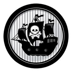 Pirate party plates - Great black and white printed pirate ship plates. Matching cups available in this pirate section. Use with red striped or black striped napkins, and the pirate party bunting to create the scene. Plates sold in a packet of 8 Deco Pirate, Pirate Theme, Pirate Party Supplies, Birthday Supplies, Decoration Birthday, Party Decoration, Birthday Plate, Pirate Birthday, Birthday Lunch