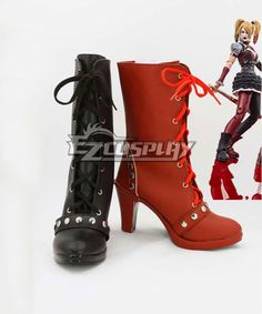 2e6c8ac7a610 DC Comics Batman  Arkham Knight Asylum City Harley Quinn Black And Red Shoes  Cosplay Boots