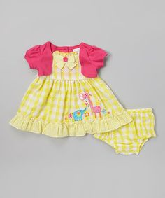 Look what I found on #zulily! Yellow & Fuchsia Gingham Ruffle Dress - Infant by Youngland #zulilyfinds