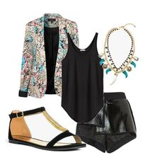 Chic-up your Bijou sandals with leather shorts, a printed blazer, and a statement necklace.