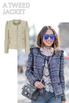 Fashion editors save money for an authentic tweed Chanel boucle jacket. Black Tweed Jacket, Chanel Tweed Jacket, Chanel Style Jacket, Boucle Jacket, Together Fashion, Smart Outfit, Fashion Outfits, Fashion Trends, Women's Fashion