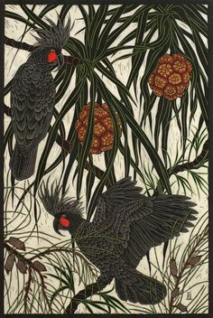 PALM COCKATOO & PANDANUS SPIRALIS 74.5 X 50 CM    EDITION OF 50 HAND COLOURED LINOCUT ON HANDMADE JAPANESE PAPER $1,250