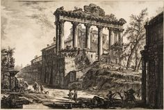 Giovanni Batlista Piranesi,  The Temple of Satan. created in l774. Etching from the views of Rome l74l