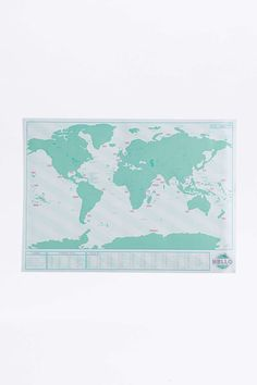 Rubbel-Weltkarte zum Ausrollen in Neonfarben